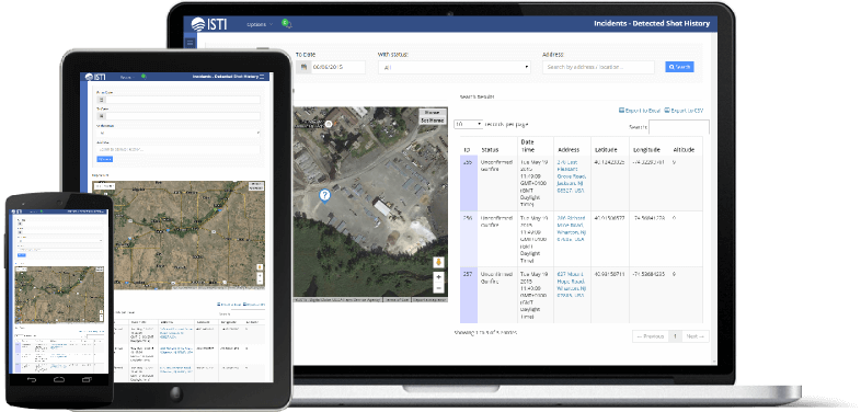 SenseShot® Gunshot Detection System Web Desktop and Mobile Interface.